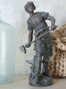 24quot;Tall OMG Antique sculpture Spelter signed MOREAU Bronze patina 1880 $750.00