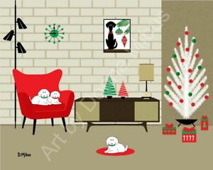 Mid Century Modern Interior Room with White Dogs Christmas Holiday Art Print $22.00