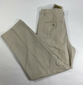 New Columbia Pants Chino Regular Fit Mens Size L34 W32 Brown Beige 100% Cotton