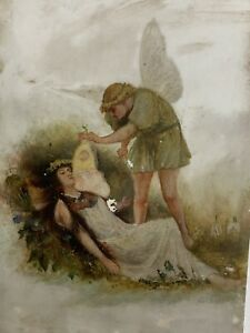 Antique Victorian Painting Fairy Watching Over Sleeping Woman $85.00