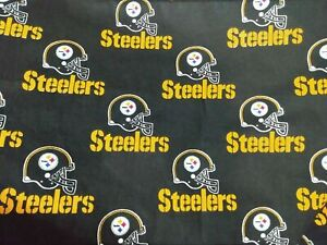 NFL PITTSBURGH STEELERS LOGO COTTON FABRIC READY 2 SHIP 1 2 YARD 18 X 58 BLOWOUT