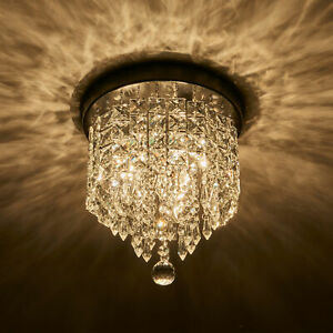 Crystal Chandelier Flush Mount Ceiling Light 2 Bulbs Pendant Lighting Fixture