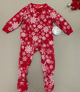 Merry Snowflakes Baby Matching Pajama One piece Christmas Red 6 9 12 18 24 Month $6.99
