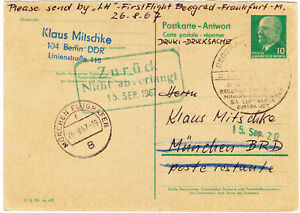 Germany DDR 1967 pre printed postcard 1st Flight Beograd Frankfurt?