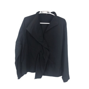 Babette Womens Designer Long Sleeve Ruffle Blazer Jacket Black Size Large