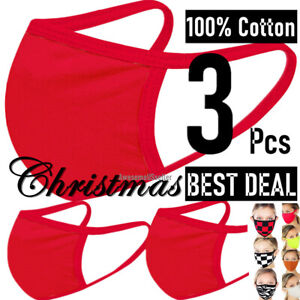 3 Pieces Christmas 100% Cotton Face Mask Men Women Clothing Covering Cover Masks