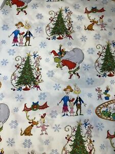 The Grinch WHOVILLE Tree Train Toys 100% Cotton Fabric by the Half Yard