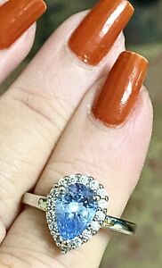 💙Sterling Topaz amp; CZ Cubic Zirconia Pear Teardrop Ring Size 8 3g 👍👍