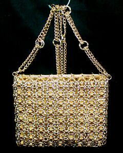 WALBORG Paco Rabonne Silver amp; Gold Metal amp; Chain Designer Evening Shoulder Bag