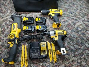 Dewalt 12v Drill Impact Driver Saw 4 Batteries Charger and Bag Used $99.95