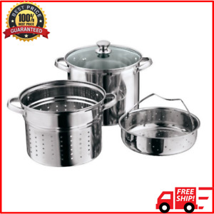 Multi Cooker 8 Quart Stainless Steel With Basket Lid Pasta Steamer Stock Pot $32.15