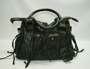 CIVICO 93 Black Italian Leather Large Whipstitch Zip Satchel Tote Bag