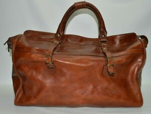 OLD ANGLER Italian Leather Large Cognac Brown Duffle Travel Luggage Bag