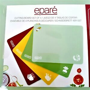 Epare Cutting Board Set Of 4 Non Slip Grip Color Coded BPA Free New Sealed