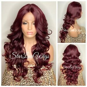 Lace Front Wig Burgundy Red Long Curly Layers Middle Part Heat Safe Ok Glueless $54.95