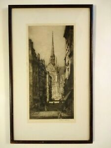 Andrew Affleck Etching quot;Notre Dame ...quot; Signed amp; Framed Early 1900#x27;s $133.00