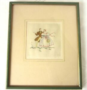 Vintage Silvia Penther Art Deco Original Etching Artist Signed Hand Colored $24.95