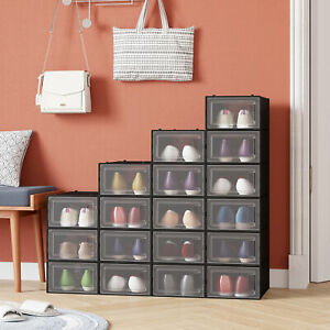 YITAHOME 18Pcs Shoe Box Storage Organizer Stackable Sneaker Case Container Black