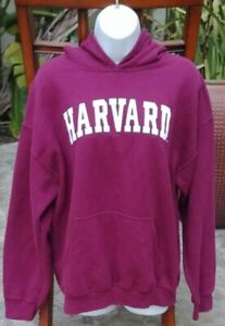 HARVARD University Womens Burgundy Red Hoodie Sweatshirt Pullover EUC Size Large $8.95