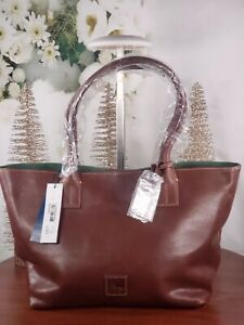 Dooney amp; Bourke Florentine Leather Small Russell Tote Bag Chestnut Brown