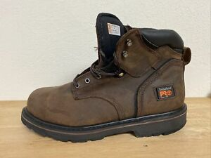 Timberland PRO® 33034 Brown Men#x27;s 6quot; Pit Boss Steel Toe Leather Boots Size 12 M