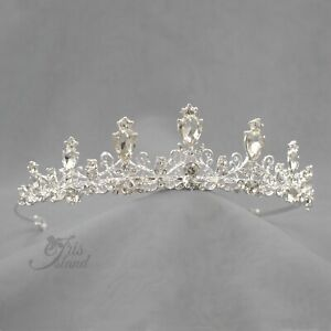 Clear Austrian Crystal Rhinestone Tiara Crown Bridal Party Pageant 0278 Silver $11.99