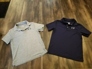 2 UNDER ARMOUR GOLF SHIRTS GRAY AND BLUE SIZE YOUTH SMALL MEDIUM KIDS BOYS $27.99