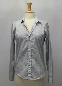 Frank Eileen Cotton Gray White Floral Button Down Long Sleeve Shirt Size S $58.00