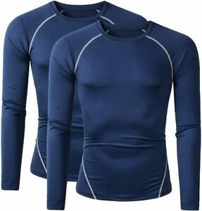 Beninos Mens 2 Pack Dry Fit Long Sleeve Compression Workout Running T Shirts $24.36