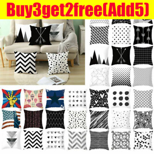 Home Decor Pillow Case Sofa Cushion Cover Throw Geometric Black White Grey $6.50