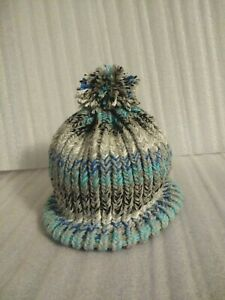 OOAK Hand Made Adult Knit Loom Hat Thick for Winter pom pom Optional