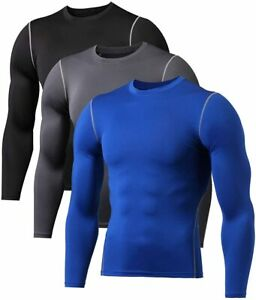 3 Pack Gym Clothes for Men Cool Dry Long Sleeve UnderwearMens Dry fit t Shirts $40.61