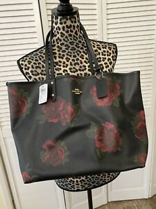 Coach Reversible City Tote In Black Rose Print New With Tags