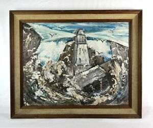Vintage Mid Century Modern Art Oil Painting of New England Lighthouse Signed $135.00