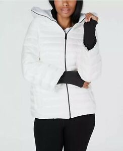 NEW Calvin Womens Klein Down Filled Hooded Puffer Jacket White Size M $89.99