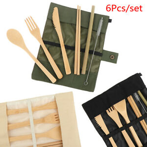 6 Pcs Set Wooden Dishes Food Fork Spoon Straw Cutlery Set Flatware Tableware
