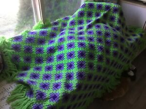 Throw Afghan home made vintage 70s style Green and Purple $35.99