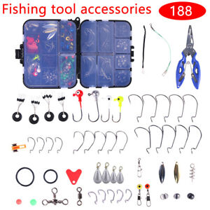 188PCS Fishing Accessories Kit set with Tackle Box Pliers Jig Hooks Swivels USA