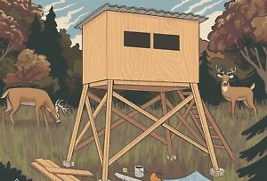 6x6 Hunting Box Blind Shooting House Plans EMAILED Same Day