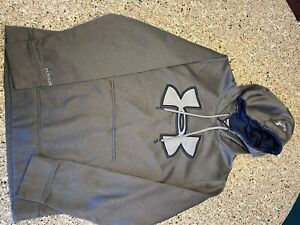 Under Armor Cold Gear Gray Pull Over Hoodie Men Size S $17.99