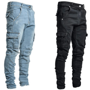 Mens Ripped Jeans Stretch Skinny Trousers Casual Stretch Slim Denim Jogger Pants $26.99