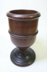 Antique WOODEN TREEN CUP GOBLET Nice Turnings Mahogany Wood? 4quot; Tall $14.99