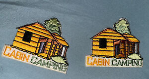 quot;CABIN CAMPINGquot; Iron On Patch Scouts Cub Boy Girl Camp Outdoors Trip