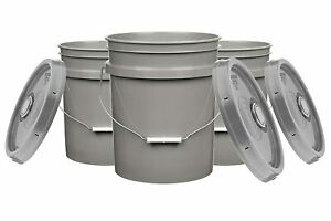 5 Gallon Food Grade Buckets BPA Free with lids pails 90mil Pack of 3