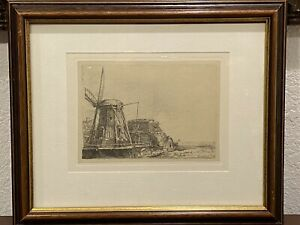 REMBRANDT Restrike Etching THE WINDMILL 6x8 Signed In Plate FRAMED $149.99