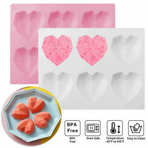 6 Grid Silicone 3D Diamond Heart Mold Chocolate Cake Pudding Baking Tool Mould $8.69