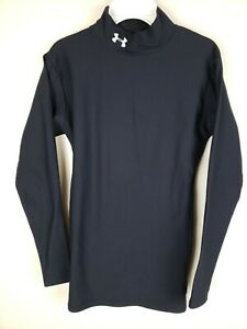 Under Armour Cold Gear Mock Neck Shirt Mens Size Small black $18.99