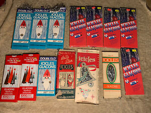 Huge Lot 14 Packs Vintage Tinsel Icicles Christmas Doubl Glo Some Unopened
