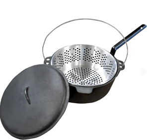 Camping Cast Iron Pot Lid And Strainer Basket With Handle 6 Quart Heavy duty