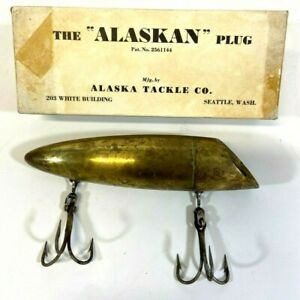 Vintage The quot;Alaskanquot; Plug Fishing Lure Alaska Tackle Co. Brass With Box